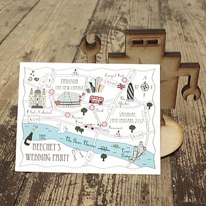 Wedding Or Party Map Colour Accent Postcard - invitations
