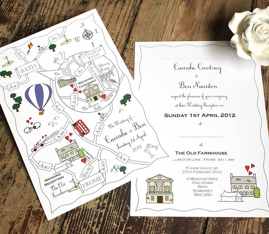 wedding or party illustrated map invitation by cute maps