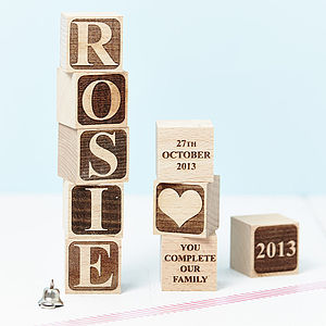 Personalised Letter Building Block - top 50 new baby keepsakes