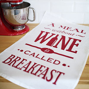 Typographic Wine Tea Towel - kitchen accessories