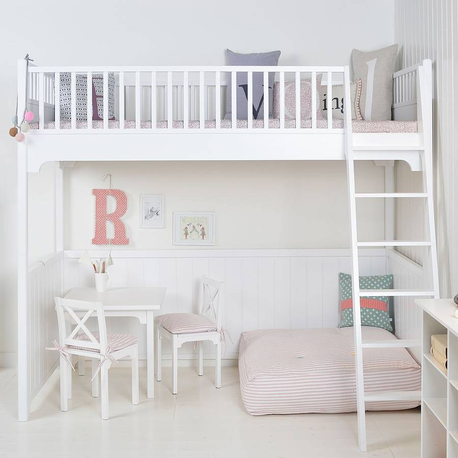 white scandinavian loft bed by nubie modern kids boutique. Black Bedroom Furniture Sets. Home Design Ideas