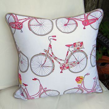 Bicycle Print Cushion With Piped Edge