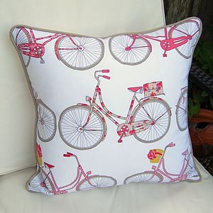 Bicycle Print Cushion With Piped Edge - cushions