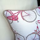 Bicycle Print Cushion Corner Close Up