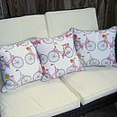 Bicycle Print Cushions in a Row
