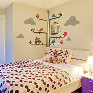 Tree And Birds Wall Sticker - office & study