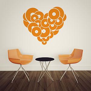 Vinyl Record Heart Wall Sticker
