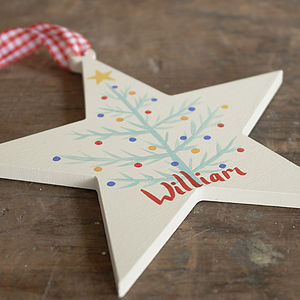 Personalised Christmas Tree Star - tree decorations