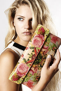 Leather Clutch   Roses