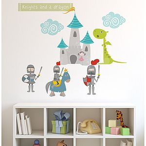 Knights And Dragon Fabric Wall Stickers - office & study
