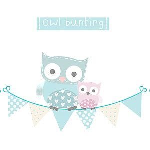Owl Bunting Fabric Wall Stickers - wall stickers