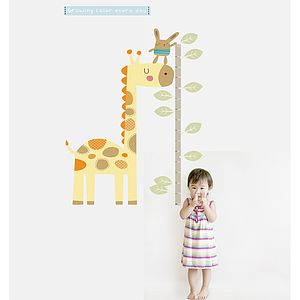 Giraffe Height Chart Fabric Wall Sticker - children's room