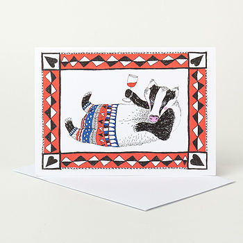 Tipsy Badger Drinking Red Wine Greeting Card
