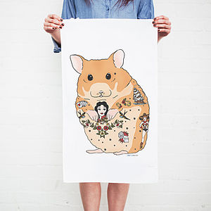 Hamster Tattoo Tea Towel