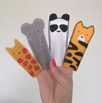 Set Of Zoo Animals Finger Puppets