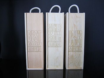 Wedding Party Laser Etched Wine Boxes