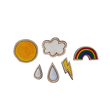 Weather Hand Painted Birch Wood Brooch Set