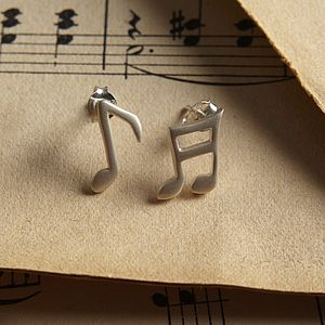 Personalised Music Note Stud Earrings - earrings