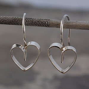 Drop Heart Lace Silver Earrings