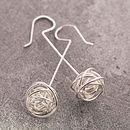 Silver Nest Stem Earrings