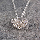Mesh Sterling Silver Heart Necklace