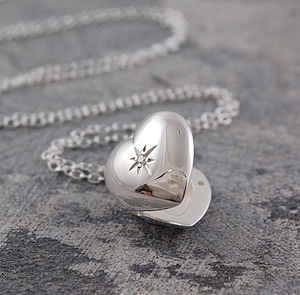 Sterling Silver White Topaz Star Heart Locket - women's jewellery