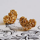 Golden Mesh Heart Stud Earrings