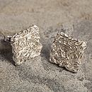 Mesh Square Sterling Silver Earrings