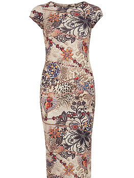 Beige Jewellery Print Dress