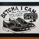 New Orleans Shoes Linocut flat