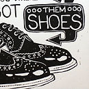 New Orleans Shoes Linocut detail