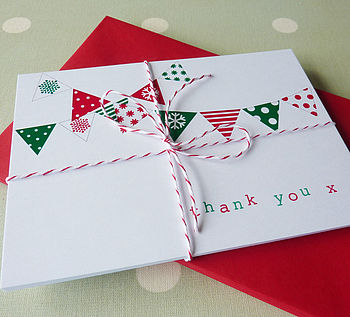 Pack Of 10 Christmas Thank You Cards