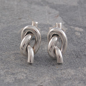Large Knot Solid Sterling Silver Earrings