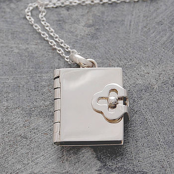 Book Silver Locket Pendant