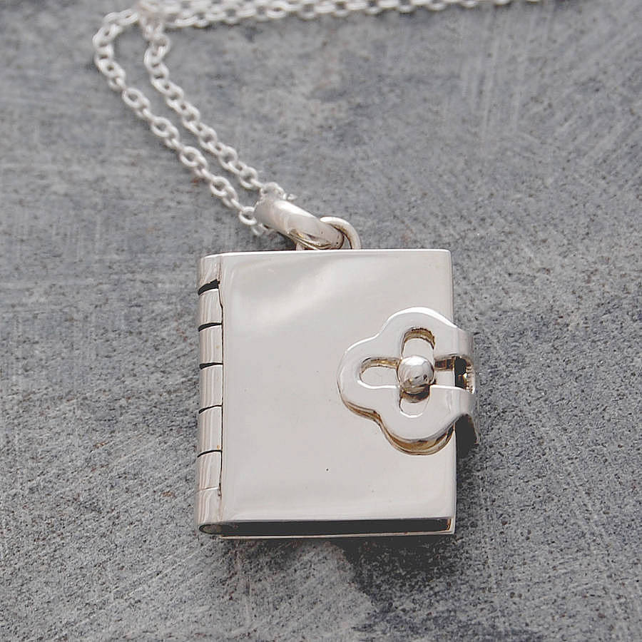 Book silver locket necklace by otis jaxon silver jewellery book silver locket necklace aloadofball Images