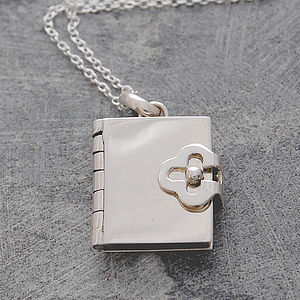 Book Silver Locket Pendant - necklaces & pendants
