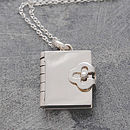 Book Silver Locket Necklace