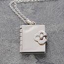 Book Silver Locket Necklace