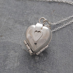 Heart Clover Motif Silver Locket Necklace