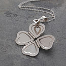 Heart Clover Motif Silver Locket Necklace