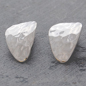 Silver Textured Petal Clip On Earrings - women's jewellery