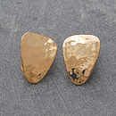 Gold Textured Petal Clip On Earrings