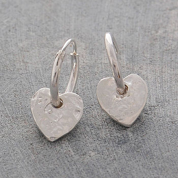 Silver Organic Heart Hoop Earrings