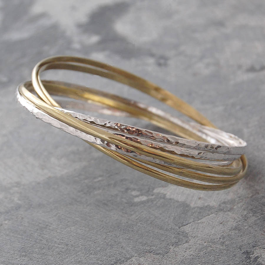 delicate tone bangles silver shop zanfeld and two golden open bracelet accent gold bracelets filigree bangle design details with