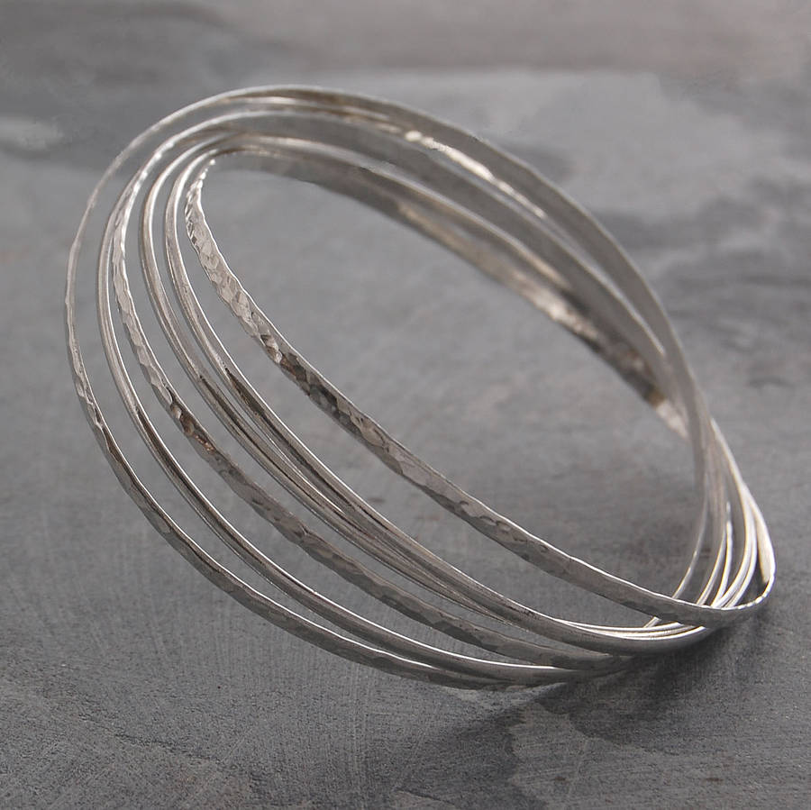 sterling bangles bracelet thin hammered bangle stacking listing il silver fullxfull