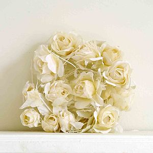 Cream Rose Fabric Flower Garland - hanging decorations