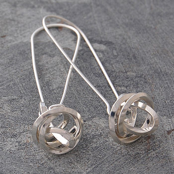 Silver Square Wire Knot On Hook Earrings