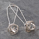 Polished Silver Square Wire Knot On Hook Earrings