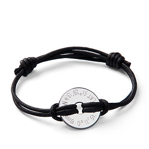 Personalised Coordinate Open Disc Bracelet - birthday specials