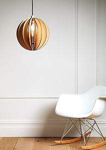 Sphery Wooden Light Shade - dining room